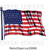 Vector Clip Art of Retro Waving American Flag by Prawny Vintage