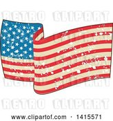 Vector Clip Art of Retro Waving American Flag with Grunge Splatters by Patrimonio