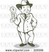 Vector Clip Art of Retro Wealthy Guy Holding Cash by Patrimonio