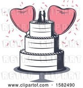 Vector Clip Art of Retro Wedding Cake with Heart Balloons and Confetti by Vector Tradition SM