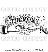 Vector Clip Art of Retro Wedding Ceremony Sign with Hands Exchanging Rings by Prawny Vintage