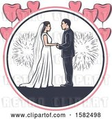 Vector Clip Art of Retro Wedding Couple with Fireworks and Heart Balloons by Vector Tradition SM