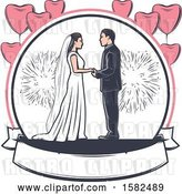 Vector Clip Art of Retro Wedding Couple with Fireworks and Heart Balloons over a Banner by Vector Tradition SM