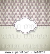 Vector Clip Art of Retro Wedding Invitation Background with a Frame over Floral and Solid Sections by KJ Pargeter