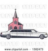 Vector Clip Art of Retro Wedding Limo Parked by a Church by Vector Tradition SM