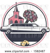 Vector Clip Art of Retro Wedding Limo Parked by a Church, with a Boquet by Vector Tradition SM