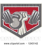 Vector Clip Art of Retro Weightlifter Hand with a Barbell and Kettlebell in a Shield by Patrimonio