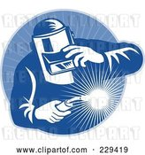 Vector Clip Art of Retro Welder Guy Logo - 1 by Patrimonio