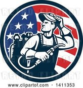 Vector Clip Art of Retro Welder Guy Looking over His Shoulder in an American Flag Circle by Patrimonio