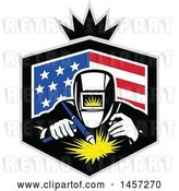 Vector Clip Art of Retro Welder in an American Flag Shield with a Crown by Patrimonio