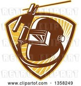 Vector Clip Art of Retro Welder Visor Mask, Rold Holder with Cable and Electrode in a Shield of Sunshine by Patrimonio