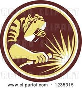 Vector Clip Art of Retro Welder Worker in a Brown and Yellow Circle by Patrimonio