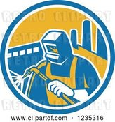 Vector Clip Art of Retro Welder Worker in a Factory Circle by Patrimonio