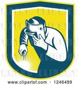 Vector Clip Art of Retro Welder Worker in a Yellow Shield by Patrimonio