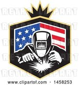 Vector Clip Art of Retro Welder Worker in an American Flag Shield with a Crown by Patrimonio