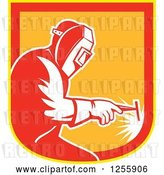 Vector Clip Art of Retro Welder Working in a Red Yellow and Orange Shield by Patrimonio