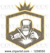 Vector Clip Art of Retro Welder Working in a Shield by Patrimonio