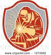 Vector Clip Art of Retro Welder Working in an Orange White and Gray Shield by Patrimonio