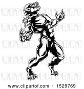 Vector Clip Art of Retro Werewolf Beast Howling and Transforming by AtStockIllustration