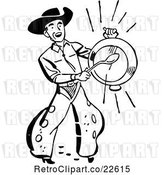 Vector Clip Art of Retro Western Cowboy Banging a Metal Dish by BestVector