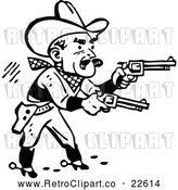 Vector Clip Art of Retro Western Cowboy Shooting Pistols by BestVector