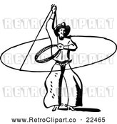 Vector Clip Art of Retro Western Cowboy Swinging a Lasso by BestVector