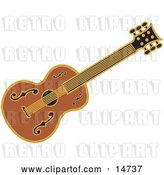 Vector Clip Art of Retro Western Guitar over a White Background by Andy Nortnik