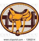 Vector Clip Art of Retro Western Saddle on a Fence, in a Brown and Orange Oval by Patrimonio