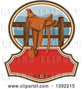 Vector Clip Art of Retro Western Saddle on a Fence over Text Space by Patrimonio