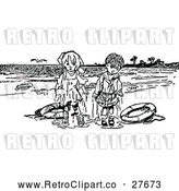 Vector Clip Art of Retro Wet Overboard Kids on a Beach by Prawny Vintage