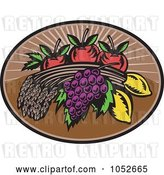 Vector Clip Art of Retro Wheat, Grapes, Lemons and Apples Logo by Patrimonio