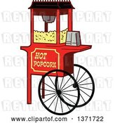Vector Clip Art of Retro Wheeled Popcorn Machine Stand by Clip Art Mascots