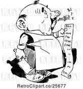 Vector Clip Art of Retro Whistling Butcher Guy Holding a Bill by Prawny Vintage