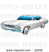 Vector Clip Art of Retro White and Chrome 1967 Chevrolet Ss Impala Muscle Car by Andy Nortnik