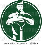 Vector Clip Art of Retro White and Green Gardener Guy Resting on a Shovel in a Circle by Patrimonio