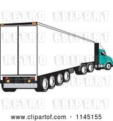 Vector Clip Art of Retro White and Turquoise Big Rig Truck by Patrimonio