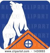 Vector Clip Art of Retro White Bear on Top of an Orange House in a Blue Square by Patrimonio