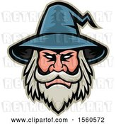 Vector Clip Art of Retro White Bearded Wizard Mascot by Patrimonio