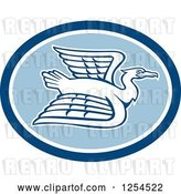 Vector Clip Art of Retro White Crane Flying in a Blue Oval by Patrimonio