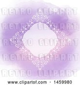 Vector Clip Art of Retro White Diamond Shaped Frame over Purple Watercolor by KJ Pargeter