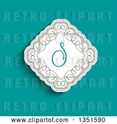 Vector Clip Art of Retro White Diamond with Swirls and a Letter S Monogram over Turquoise by KJ Pargeter
