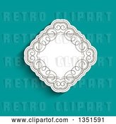 Vector Clip Art of Retro White Diamond with Swirls over Turquoise by KJ Pargeter