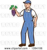 Vector Clip Art of Retro White Farmer Boy Holding Purple Grapes by Patrimonio