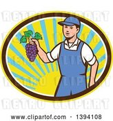Vector Clip Art of Retro White Farmer Boy Holding Purple Grapes in a Sunny Oval by Patrimonio