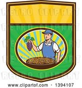 Vector Clip Art of Retro White Farmer Boy Holding Purple Grapes over a Bowl of Raisins in a Sunny Oval on a Shield by Patrimonio