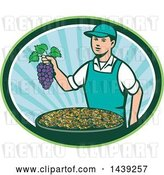 Vector Clip Art of Retro White Farmer Boy Holding Purple Grapes over a Bowl of Raisins in an Oval by Patrimonio