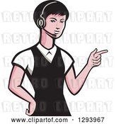 Vector Clip Art of Retro White Female Call Center Worker Pointing and Wearing a Headset by Patrimonio