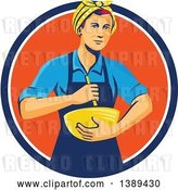 Vector Clip Art of Retro White Female Chef or Baker Holding a Mixing Bowl in a Blue White and Orange Circle by Patrimonio