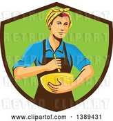 Vector Clip Art of Retro White Female Chef or Baker Holding a Mixing Bowl in a Brown and Green Shield by Patrimonio