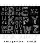 Vector Clip Art of Retro White Floral Capital Letters on Black 2 by Vector Tradition SM